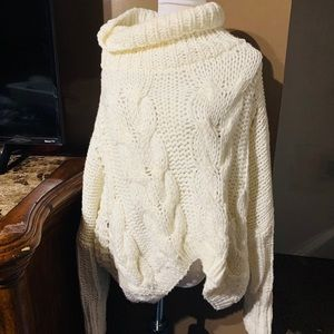 Sweaters - White Cream knit cow turtle neck sweater oversized